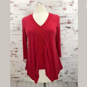 Adrianna Papell Asymmetrical Embroidered Top Red